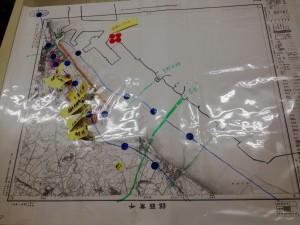 大正時代の地図上で、現代の海岸線や地形を確認する